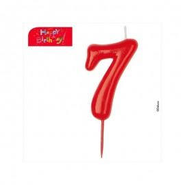 Vela vermelha número 7 dekora
