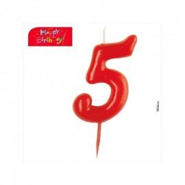Vela vermelha número 5 dekora