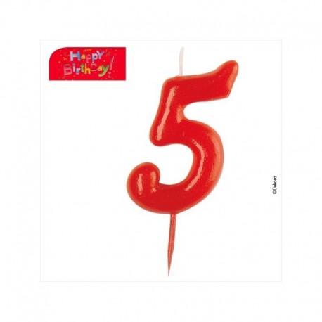 Vela vermelha número 5