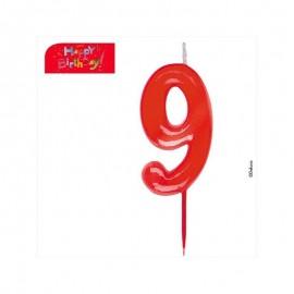 Vela vermelha número 9 dekora