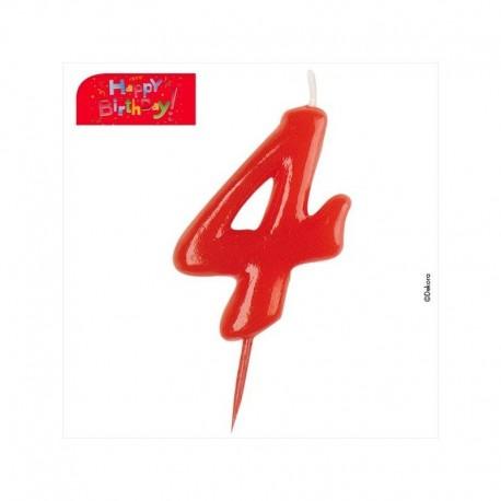 Vela vermelha número 4
