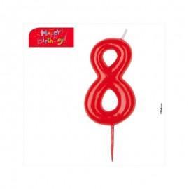 Vela vermelha número 8 dekora