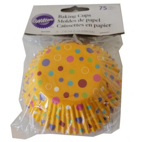 Petifur Cupcake Wilton 75 unid. Amarelo com bolinhas coloridas