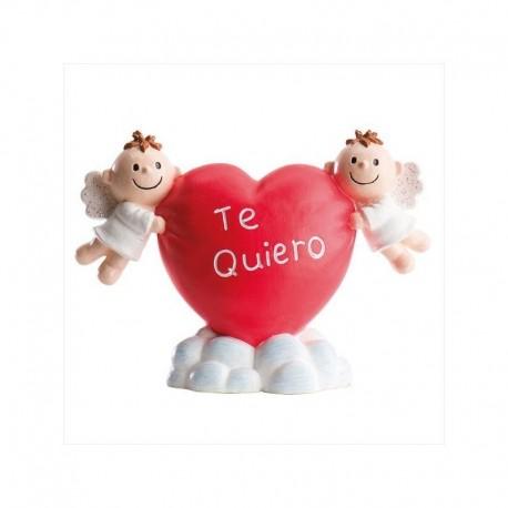 """Coração """"Te quiero"""" com anjos 6,5 cm"""