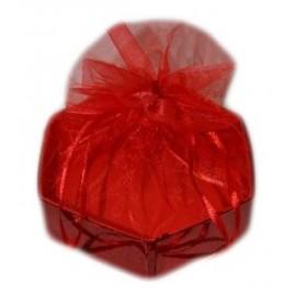 Caixa hexagonal 11,5x12,5x3 cm vermelha