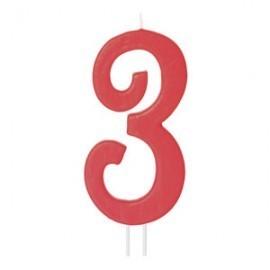 Vela vermelha grande 12 cms nº 3