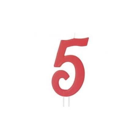 Vela vermelha grande 12 cms nº 5