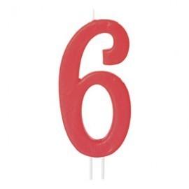 Vela vermelha grande 12 cms nº 6