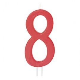 Vela vermelha grande 12 cms nº 8