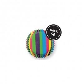 Petifur cupcake PME riscas coloridas 60 unid.