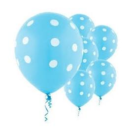 Balão azul com pintas brancas