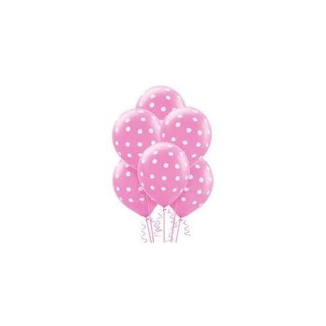 Balão rosa com pintas brancas