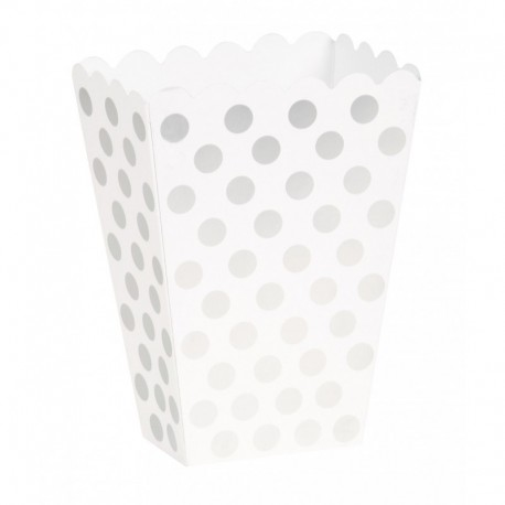 Caixa pipocas branca com bolas prata - 8 unid.