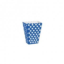 Caixa pipocas azul com bolas brancas - 8 unid.