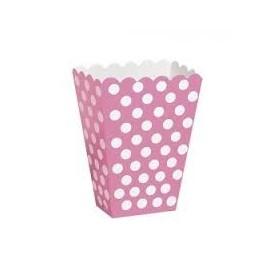 Caixa pipocas rosa com bolas brancas - 8 unid.