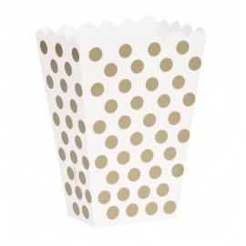 Caixa pipocas branca com bolas dourada - 8 unid.