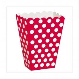 Caixa pipocas vermelha com bolas brancas - 8 unid.