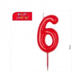 Vela vermelha número 6 dekora
