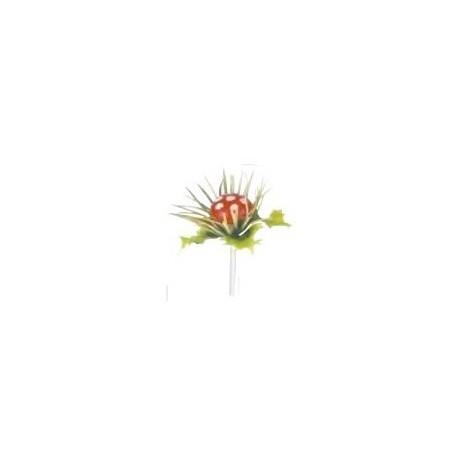Cogumelo com folha azevinho PVC 6 cm