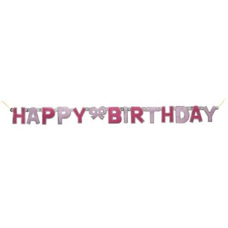 Faixa Happy birthday (parabéns) rosa com 1,27 m