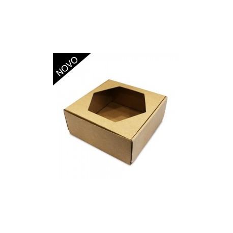 Caixa castanha com janela 15x15x6,5 cm
