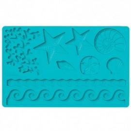 Molde silicone motivo mar-concha-estrela-algas-ondas Wilton