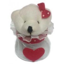 Frasco ursinha com coração vermelho