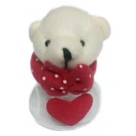 Frasco urso com coração vermelho