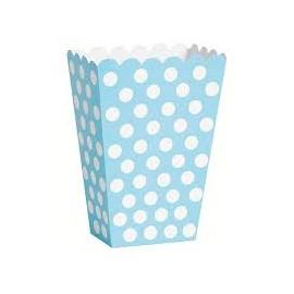 Caixa pipocas azul claro com bolas brancas - 8 unid.