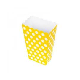 Caixa pipocas amarelo com bolas brancas - 8 unid.