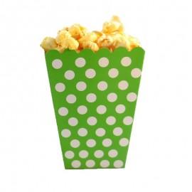 Caixa pipocas verde com bolas brancas - 8 unid.