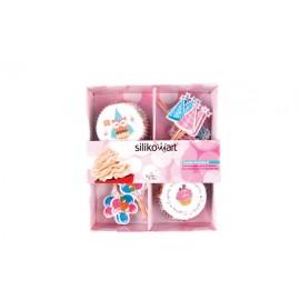 Petifur cupcake com bandeirolas Silikomart