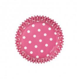 Petifur rosa choque com bolinhas brancas 75 unid. 5 cms Wilton