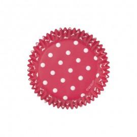Petifur vermelho com bolinhas brancas 75 unid. 5 cms Wilton