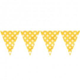 Bandeira plástica amarela bolas brancas 5 mts