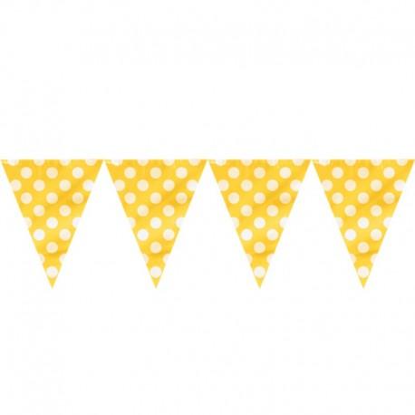 Bandeira plástica amarela com bolas brancas 5 mts