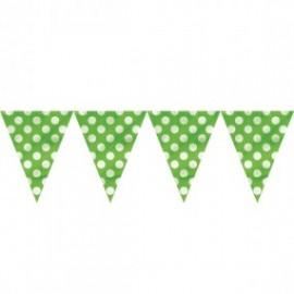 Bandeira plástica verde bolas brancas 5 mts