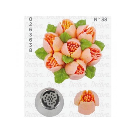 Bico pasteleiro flores em creme nº 38 decora
