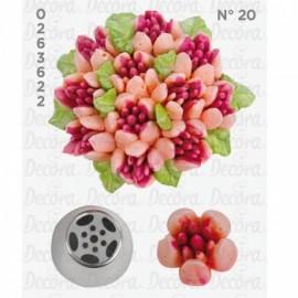 Bico pasteleiro flor de creme 5 pétalas nº 20 decora