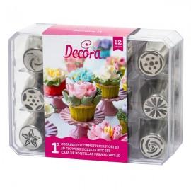 Conj. 12 bicos pasteleiro (boquilha russa) flores creme decora