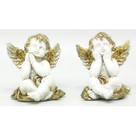 Anjo decorativo branco e dourado com 7 cm - individual