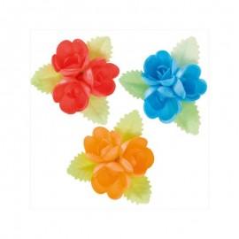 Conjunto 3 flores com folha em hóstia (obreia) 6,5x6,5 cms dekora - individual