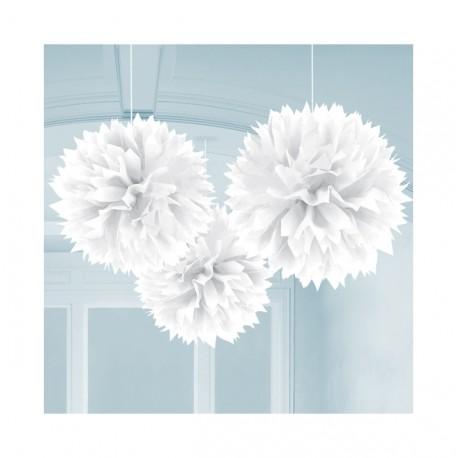 Pendente Puff branco com 40,64 cms