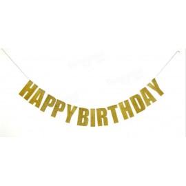 Faixa Happy birthday (parabéns) dourada com 1,21 m Unique