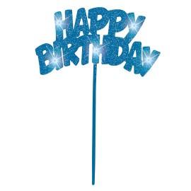 Topo de bolo luminoso Happy birthday Azul Unique
