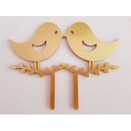 Topo de bolo em dourado passarinhos Acrílico