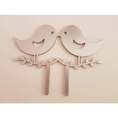 Topo de bolo em prata passarinhos