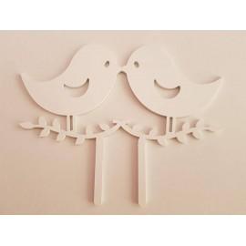 Topo de bolo em branco passarinhos Acrílico