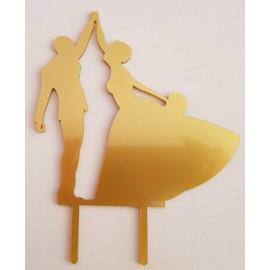 Topo de bolo em dourado silhueta Noivos a dançar Acrílico