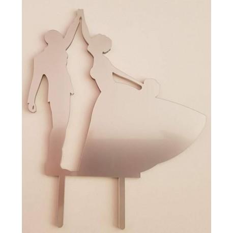 Topo de bolo em prata silhueta Noivos a dançar